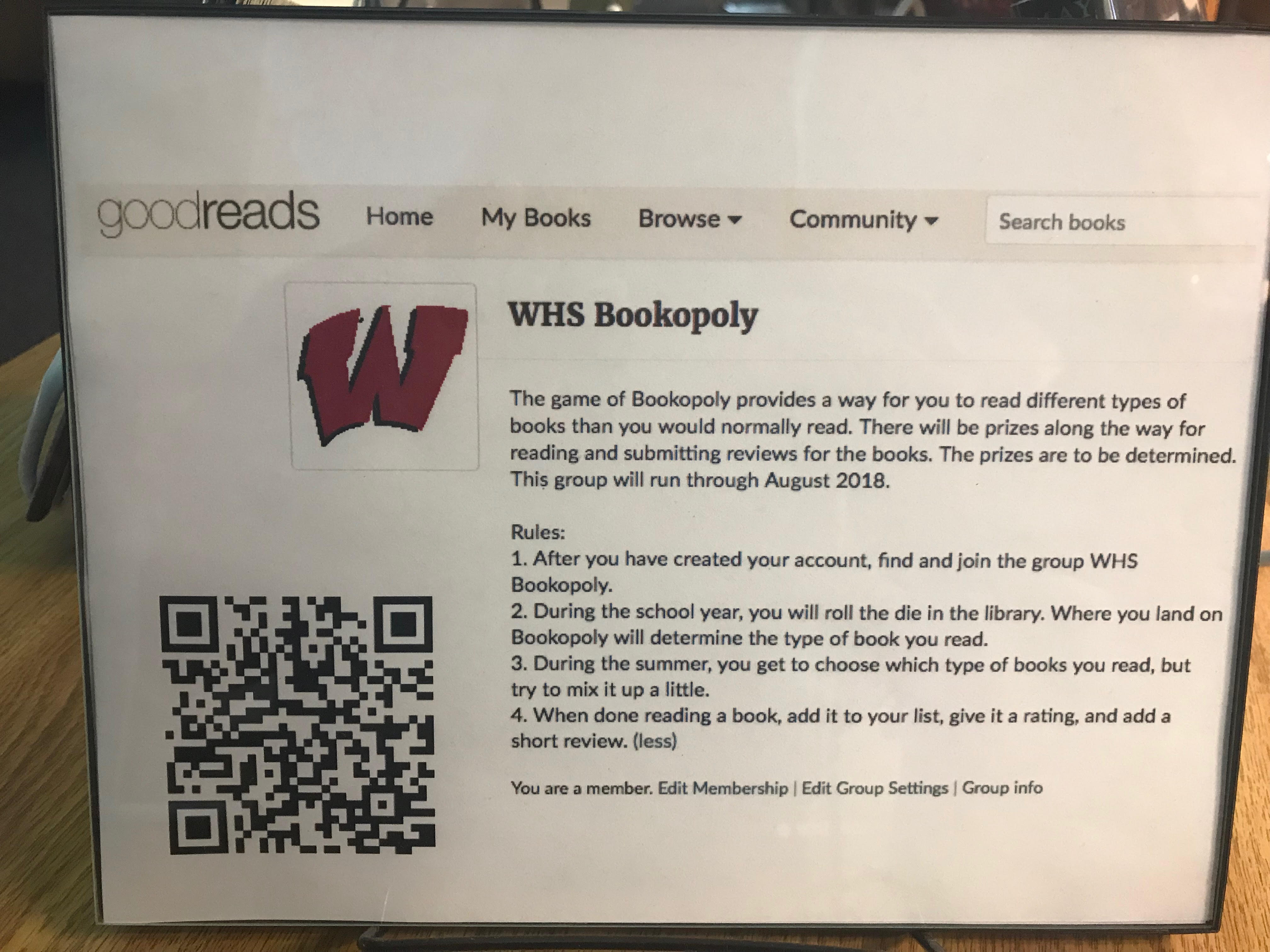 """Library """"Bookopoly"""" encourages students to read for enjoyment"""