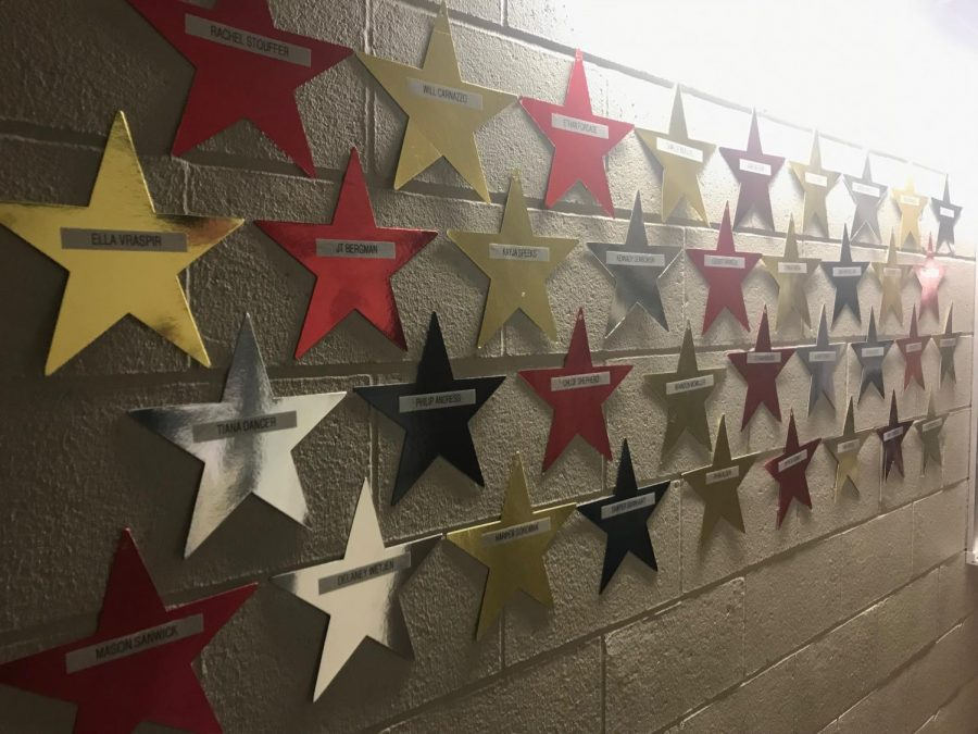 Students+who+were+selected+for+All-State+had+their+names+hung+on+stars+in+the+choir+hallway.