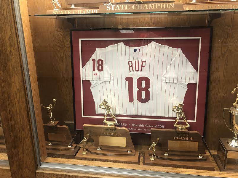 Darin+Ruf%27s+old+Phillies%27+jersey+is+displayed+in+the+hallway.