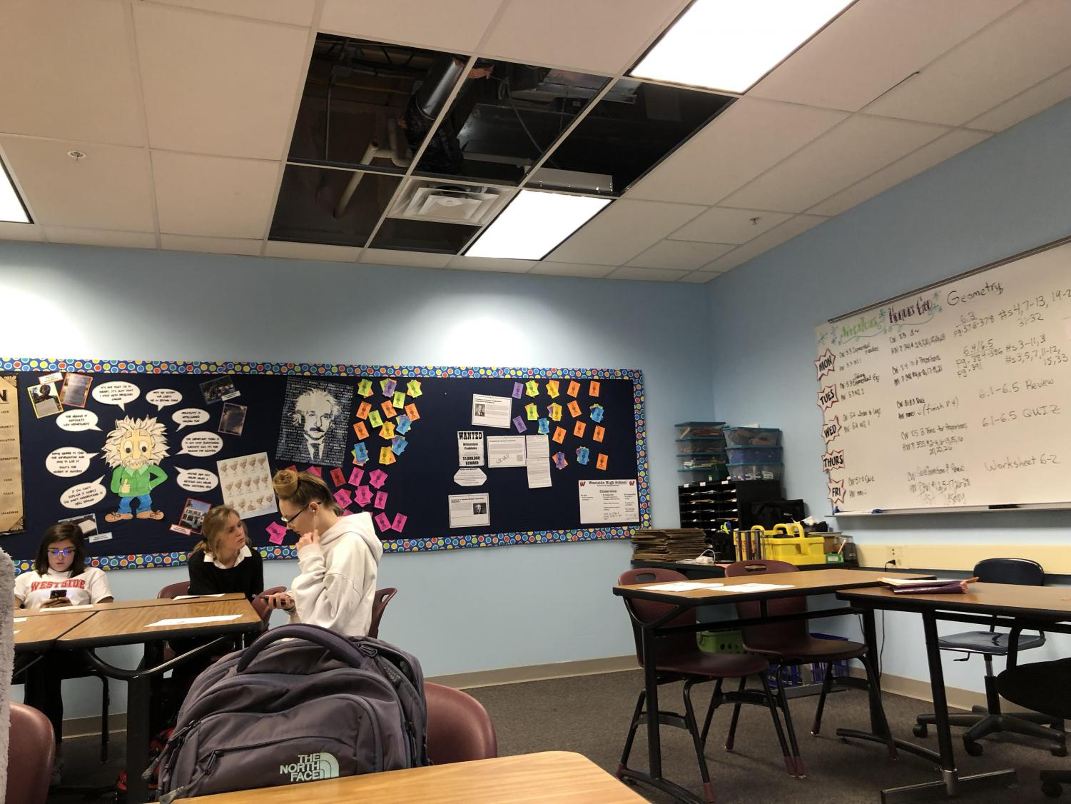 Damage in room 324 after the room flooded.
