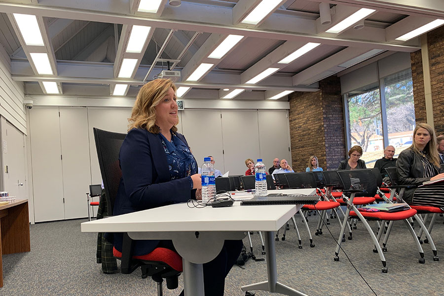 Superintendent candidate Dr. Melissa Poloncic is interviewed by the Westside Community Schools Board of Education on Wednesday, Jan. 9.