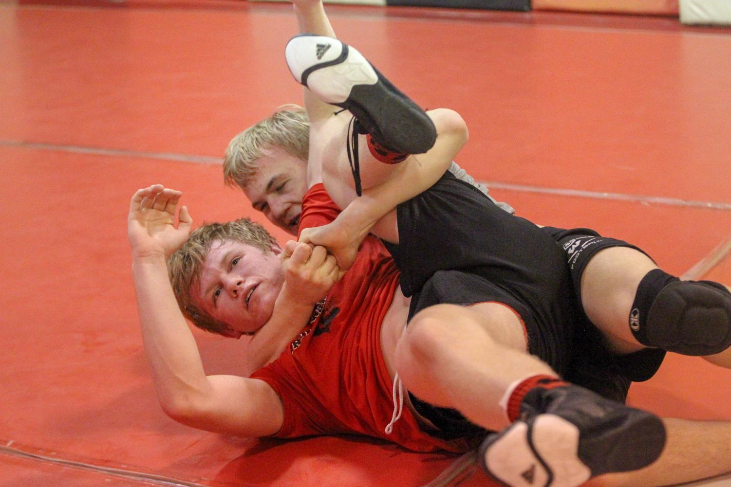 Vincentini practices with state qualifier Cole Haberman earlier this week,