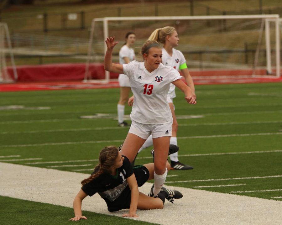 Senior Kaley Heinz scored a hat trick in the first half of Monday's match with Omaha Bryan.