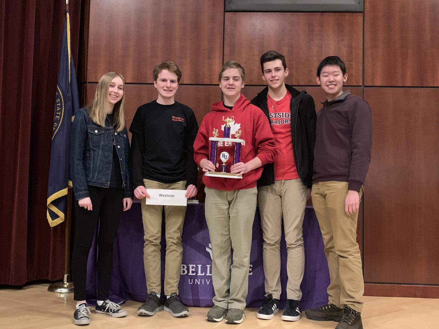 Quiz bowl team after winning (from left to right), Reese Pike, Theodore Jansen, Paul Suder, Brendan Pennington, and Andrew Li.