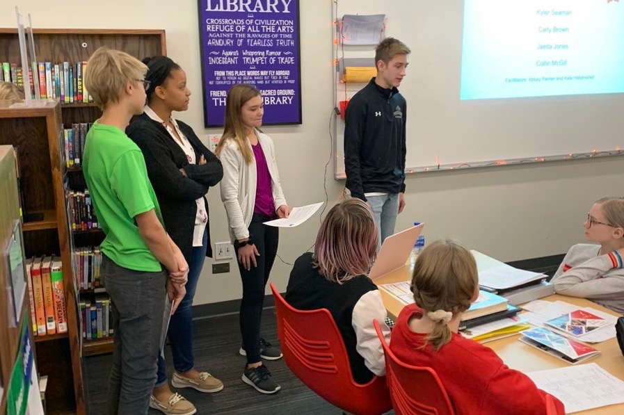 Westside Middle School students present ideas at Community Coffees.