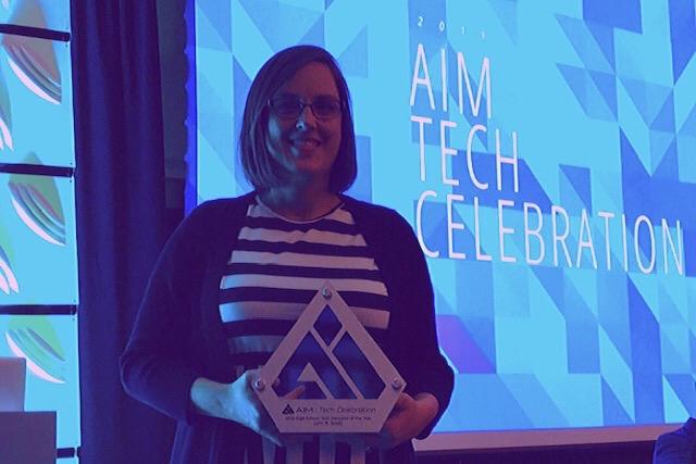 Westside's EY Coordinator Lynn Spady was awarded at the AIM Tech celebration.