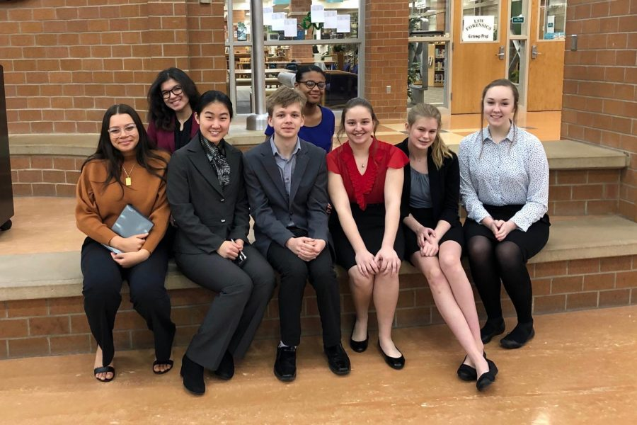 Westside%27s+speech+team+poses+at+a+competition+during+the+2018-2019+school+year.