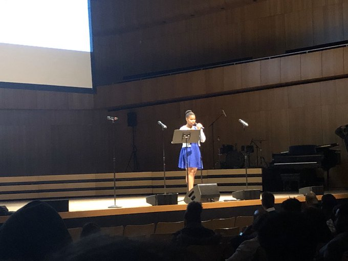 Junior Dianara Ubisse representing Westside in the spoken word category.