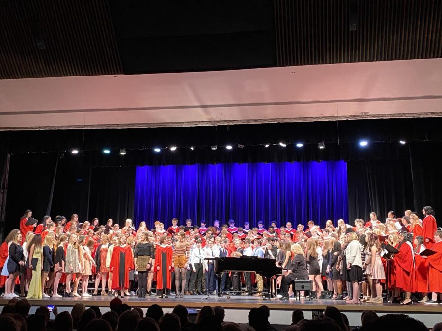 Westside choir students perform the songs they worked on with Dr. Runestad at the choral clinic concert.
