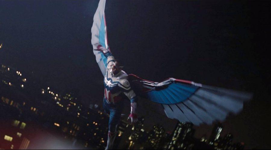 Sam Wilson (Mackie) in his new suit as Captain America.