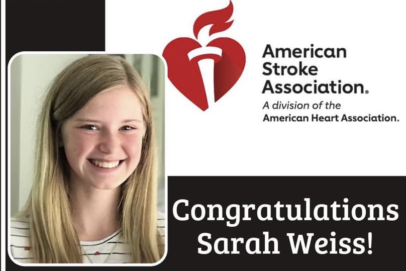 Westside freshman Sarah Weiss was awarded the Pediatric Hero Award by the American Stroke Association.