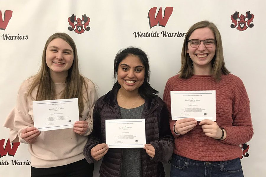 Vivian Jacobitz, Neha Khalid, and Ciara Baumert (left to right) were chosen as this year's National Merit finalists.