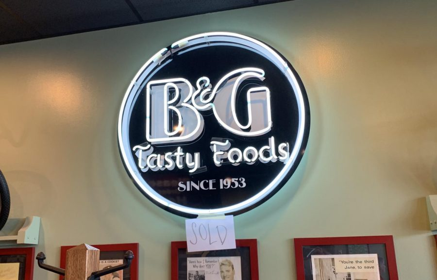Parts of the B&G restaurant, such as this sign, have begun to be sold in order to prepare for the restaurant's closing.