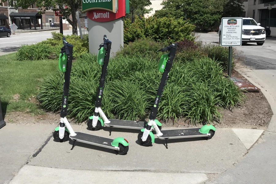 Lime scooters like the ones featured above were newly introduced to the Omaha metro area and can be found throughout areas of east Omaha.