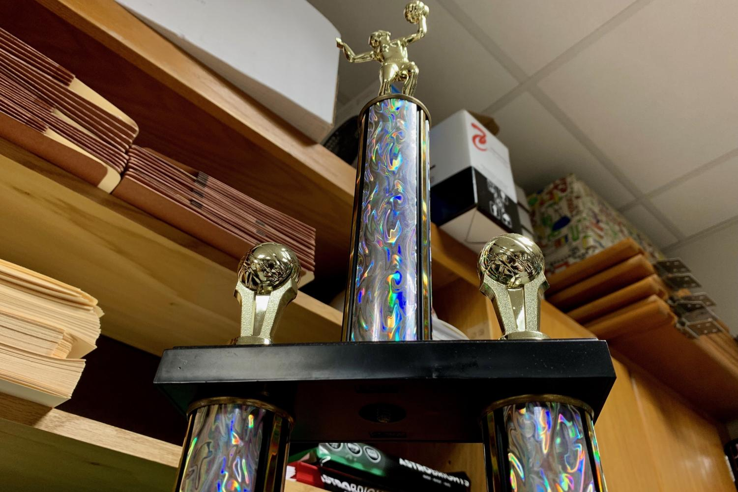 Featured above is the homeroom volleyball trophy that Bulin's homeroom earned during the 2018 tournament.
