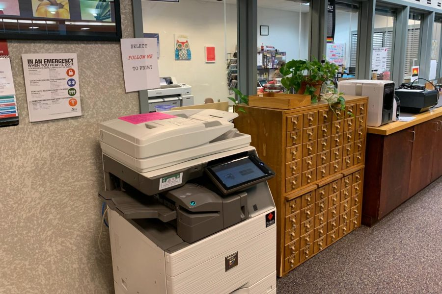 Featured here is the new printer and copier in the library, known as