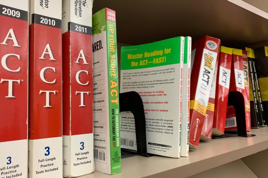Westside High School's Guidance IMC houses many ACT practice textbooks that are available for students