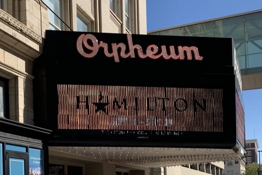 An electronic screen outside of Omaha's Orpheum theater displays the arrival of the Broadway musical 'Hamilton.'