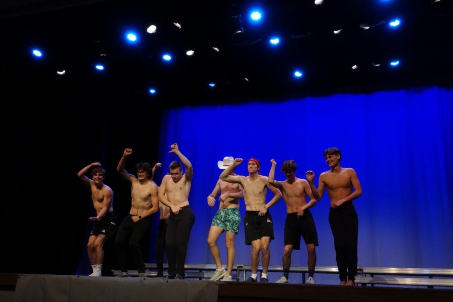 Mr. WHS candidates perform during boys dance.
