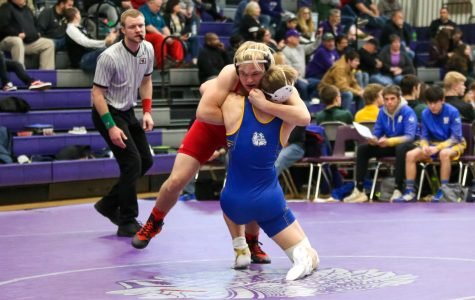 Westside sophomore Cole Haberman wrestles at the Chieftain Duals earlier this season.