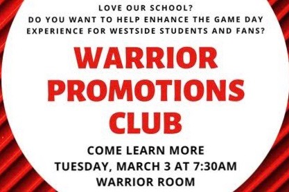 Westside High School has introduced a new sports marketing club that will meet for the first time on Tuesday, March 3.