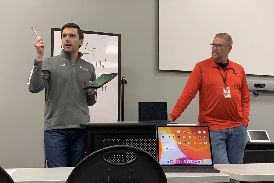 Members of Westside's district technology team present ideas to those present at February's 'First Friday Feedback' meeting.