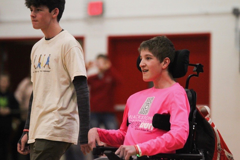 A+Special+Olympian+is+recognized+during+a+recent+Westside+basketball+game.