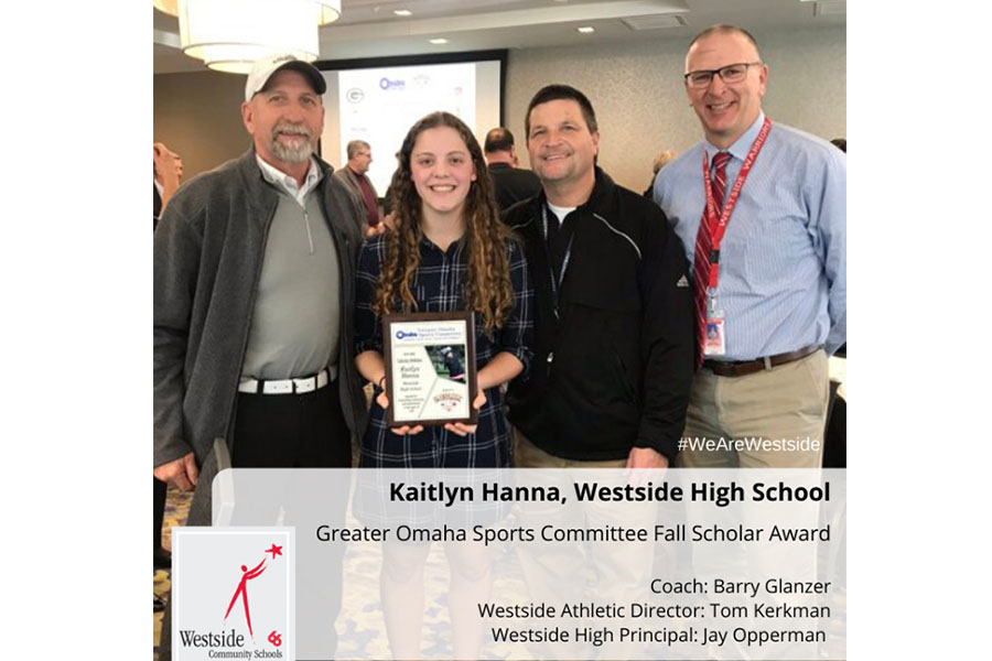 Sophomore Katilyn Hanna recently received the Great Omaha Sports Committee Fall Scholar award due to hard work in academics and athletics.