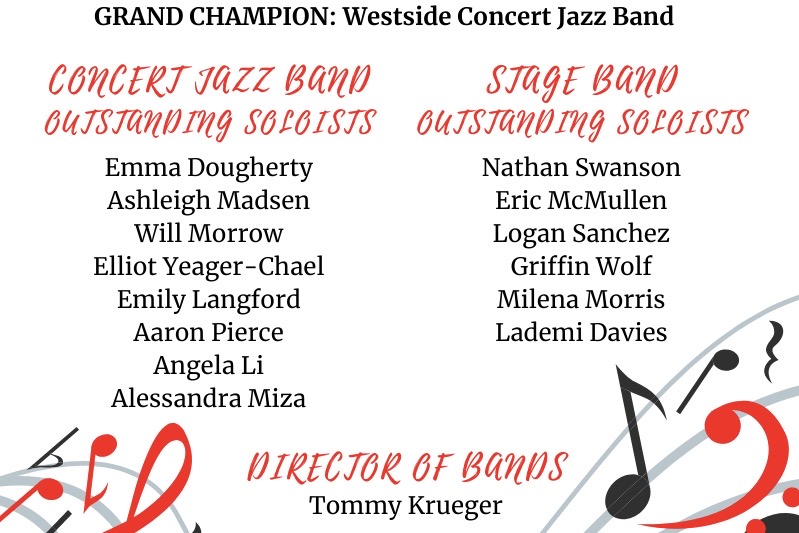 The Westside Concert Jazz Band was recently named Grand Champions at the Morningside Jazz Festival.