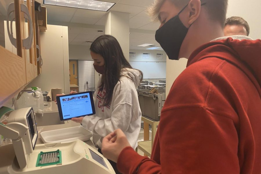 AP Biology students film  lab on Webex for extended campus students.
