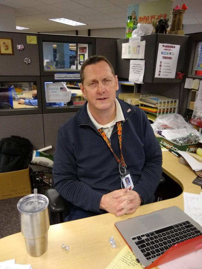 """""""We're really fortunate [to have] the technology, the Webex. I think that that does the best job that it can to make the [online] students feel like they're actually here,"""" social studies instructor David Bywater."""