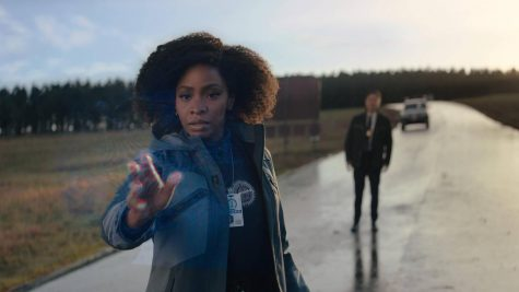 Monica Rambeau (Parris) and Jimmy Woo (Park) near the static energy field surrounding the town of Westview.