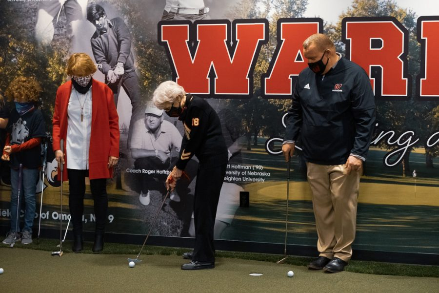 Sally Carlson prepares to take a swing on the Swede Center