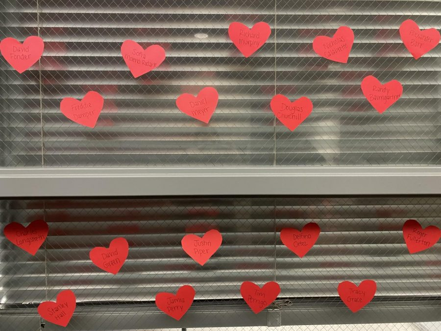 A few of the hearts hung around the school.