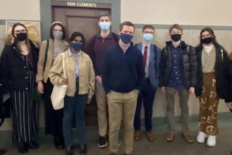 Students that testified for  LB88 at the Nebraska State Capitol standing alongside Senator Adam Morfeld.