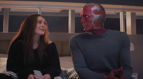 "Wanda (Olsen) and Vision (Bettany) living in their first house together after the events of ""Avengers: Age of Ultron."""