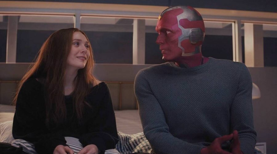 Wanda (Olsen) and Vision (Bettany) living in their first house together after the events of
