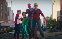 Wanda (Olsen), Vision (Bettany), Billy (Hilliard), and Tommy (Klyne) preparing to fight the enemies threatening their home.