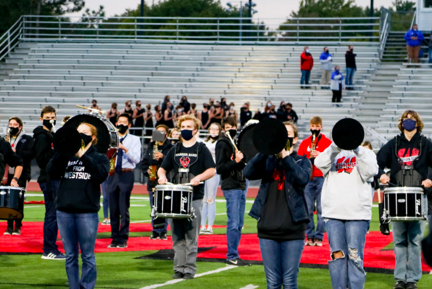 Westside+Marching+Band+performs+at+the+2020+homecoming+football+game.+