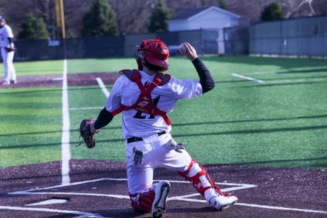 Junior RJ Gunderson has lead the team in triples while hitting .279. The utility man of utility men has caught, played both left and right field and second base this season. Photo by Zoe Gillespie
