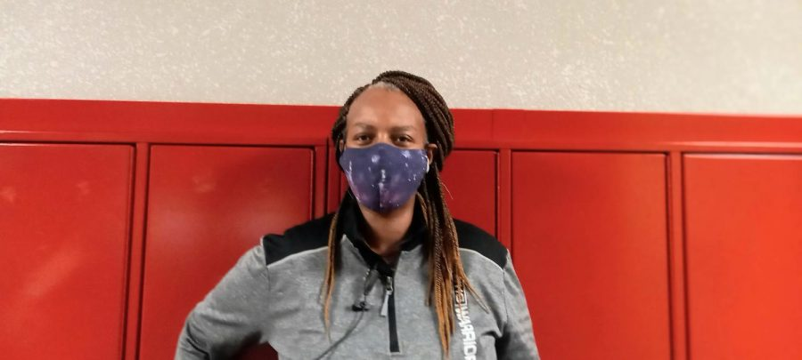 """""""Oh, I love it. I wear [two masks]... A blue medical one… and then a cloth one on top. The cloth one is a little thinner, so, no, it doesnt [affect my breathing],"""" hallway coordinator Belinda Scott"""