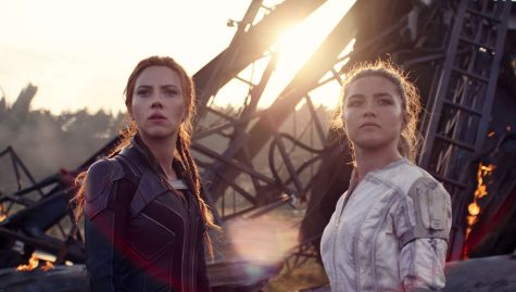 Natasha (Johansson) and Yelena (Pugh), together, after defeating the Red Room.