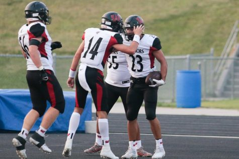The connection between QB Kolby Brown, WR Grant Guyett and RB Dominic Rezac has been a key to Westside's success. The three combined for 392 yards against Papillion-La Vista. Photo by Mary Nilius