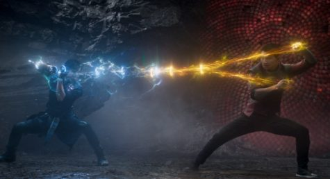 Shang-Chi (Liu) battling with Wenwu (Leung) for the Ten Rings in Ta Lo.