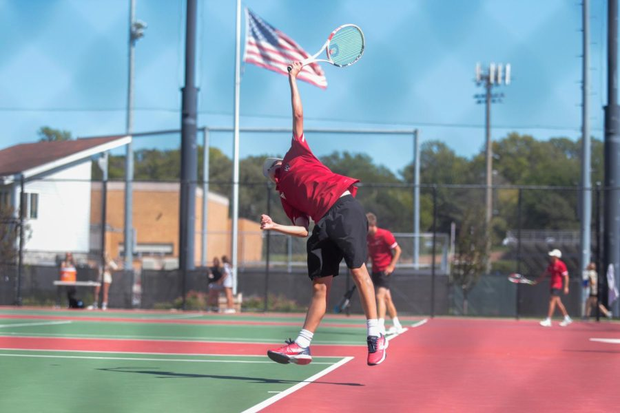 AJ Shefksy serves at the Warrior Invite. Shefsky placed fifth at Metros. - Photo by Cece Gerard